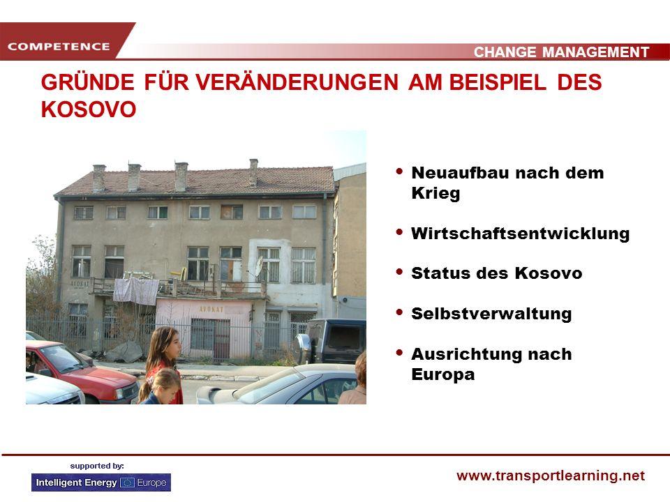 CHANGE MANAGEMENT www.transportlearning.net GRÜNDE FÜR VERÄNDERUNGEN AM BEISPIEL DES KOSOVO Neuaufbau nach dem Krieg Wirtschaftsentwicklung Status des Kosovo Selbstverwaltung Ausrichtung nach Europa