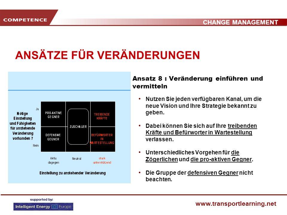 CHANGE MANAGEMENT www.transportlearning.net ANSÄTZE FÜR VERÄNDERUNGEN Ansatz 8 : Veränderung einführen und vermitteln Nutzen Sie jeden verfügbaren Kanal, um die neue Vision und Ihre Strategie bekannt zu geben.