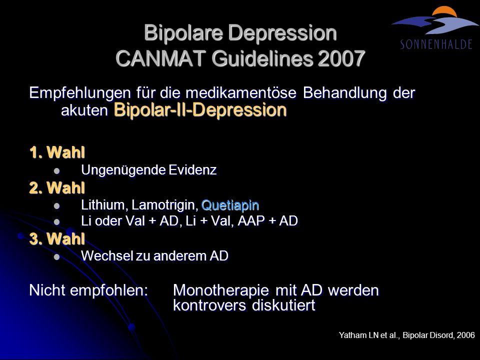 Bipolare Depression THM Eine möglichst frühzeitige Diagnose ist entscheidend Eine möglichst frühzeitige Diagnose ist entscheidend Immer erwägen.
