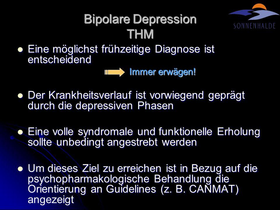 Bipolare Depression THM (II) AD sind bei der bipolaren Depression zurückhalten und nur in Kombination mit anderen Medikamenten einzusetzen AD sind bei der bipolaren Depression zurückhalten und nur in Kombination mit anderen Medikamenten einzusetzen Es gibt hinreichende Evidenz für eine Monotherapie mit Lithium, Lamotrigin und Quetiapin bei der bipolaren Depression (insbes.