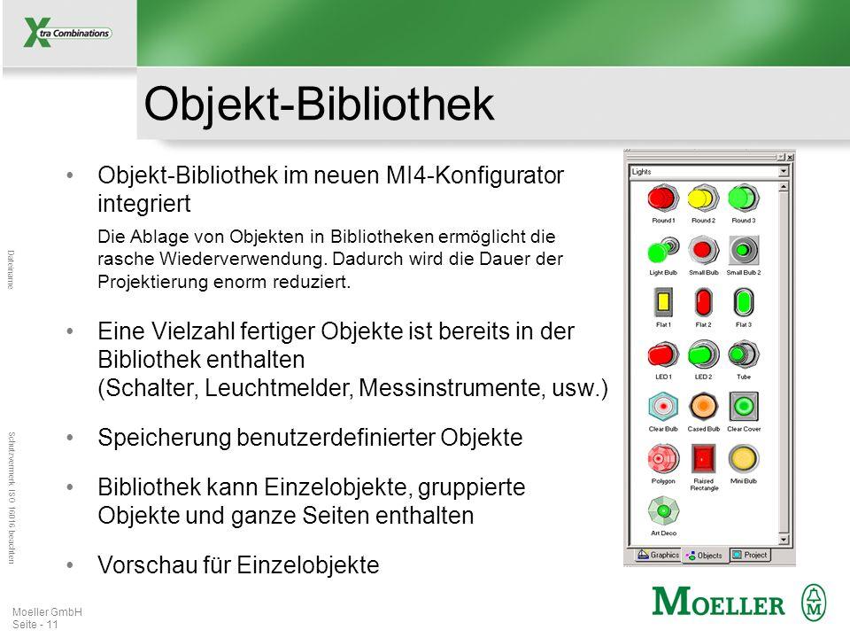 Mastertitelformat bearbeiten Dateiname Schutzvermerk ISO 16016 beachten Moeller GmbH Seite - 12 Graphik-Bibliothek Graphik-Bibliothek im neuen MI4-Konfigurator integriert Im Gegensatz zur Objekt- Bibliothek enthält die Graphik-Bibliothek nur statische Graphiken.
