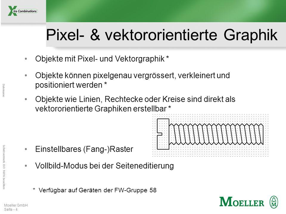 Mastertitelformat bearbeiten Dateiname Schutzvermerk ISO 16016 beachten Moeller GmbH Seite - 5 Graphik-Import Mehr als 20 verschiedene Graphikformate können importiert werden (z.B.