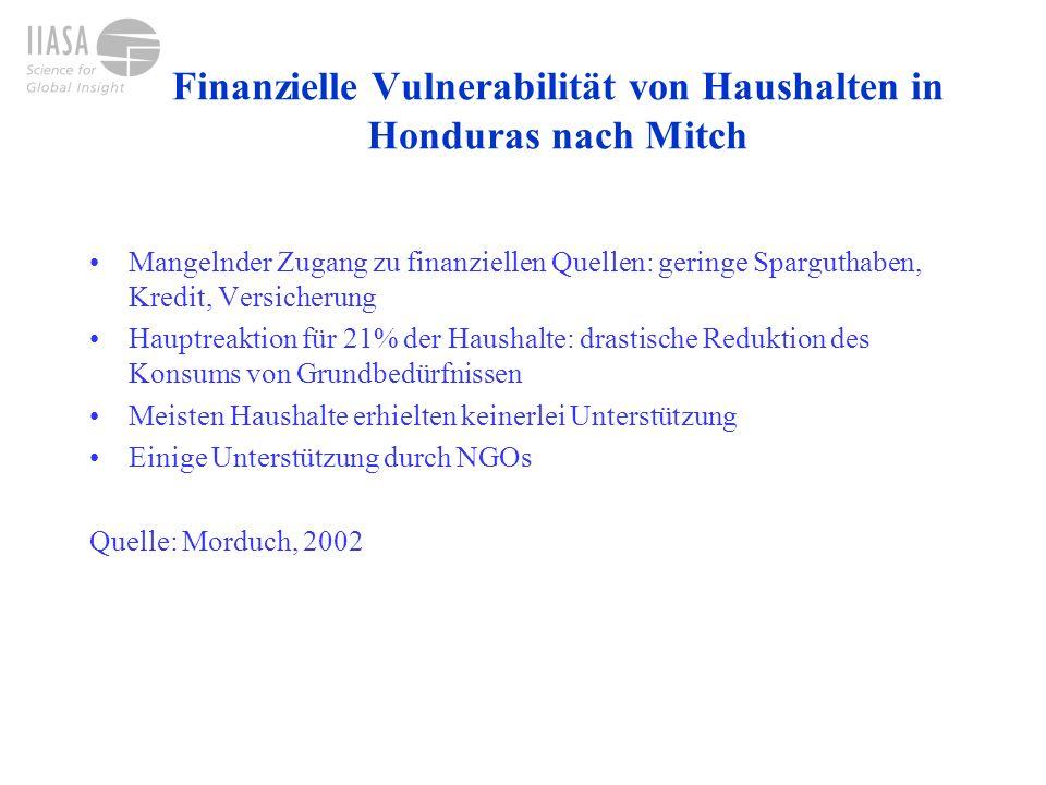 Hohe finanzielle Vulnerabilität: öffentlicher Sektor in Honduras Hilfe nach Mitch von US$2.7 Mrd.