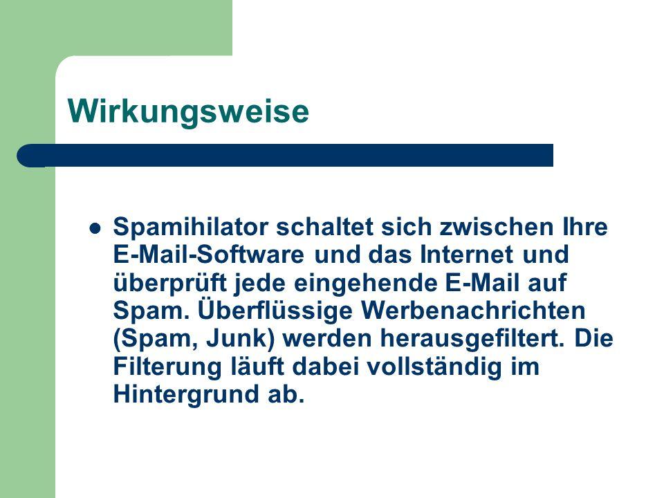 Filters Zusätzlich benutzt Spamihilator noch einen Wortfilter, der nach bekannten Schlüsselwörtern sucht.