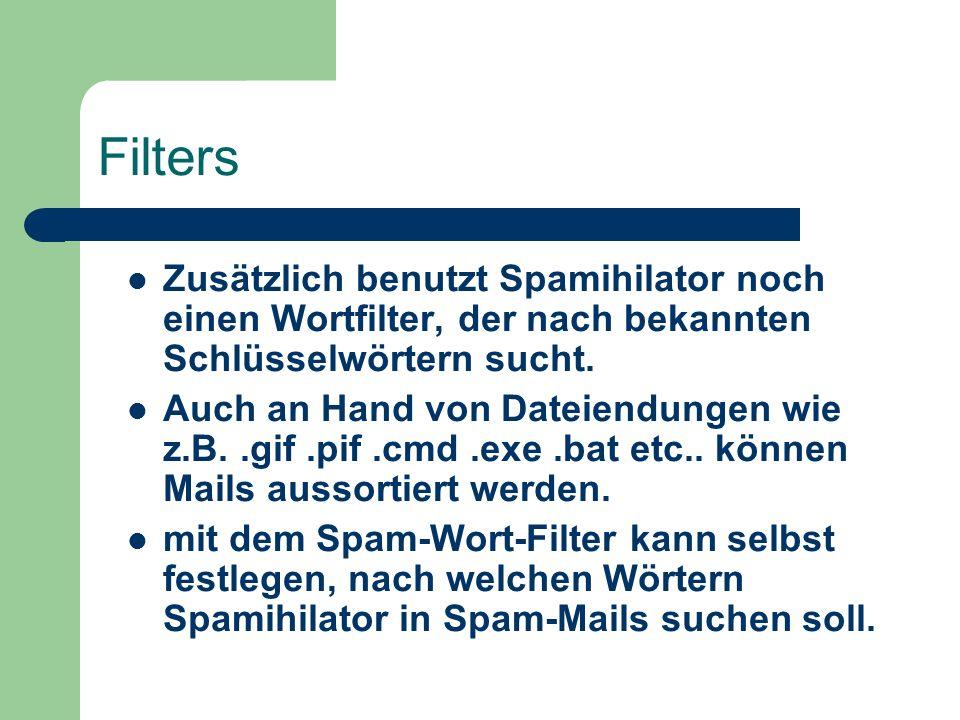 Filters Adressen aus dem Mailprogram können importiert werden.