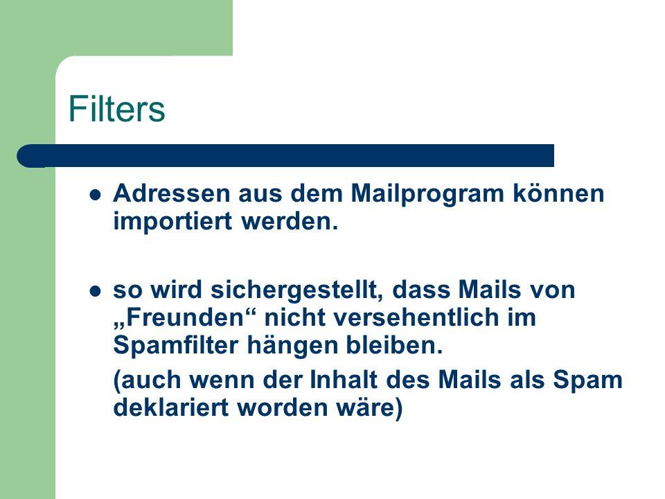 Beispiel für eine Filterung durch den Wortfilter: Inhalt der E-Mail: You are very sexy.