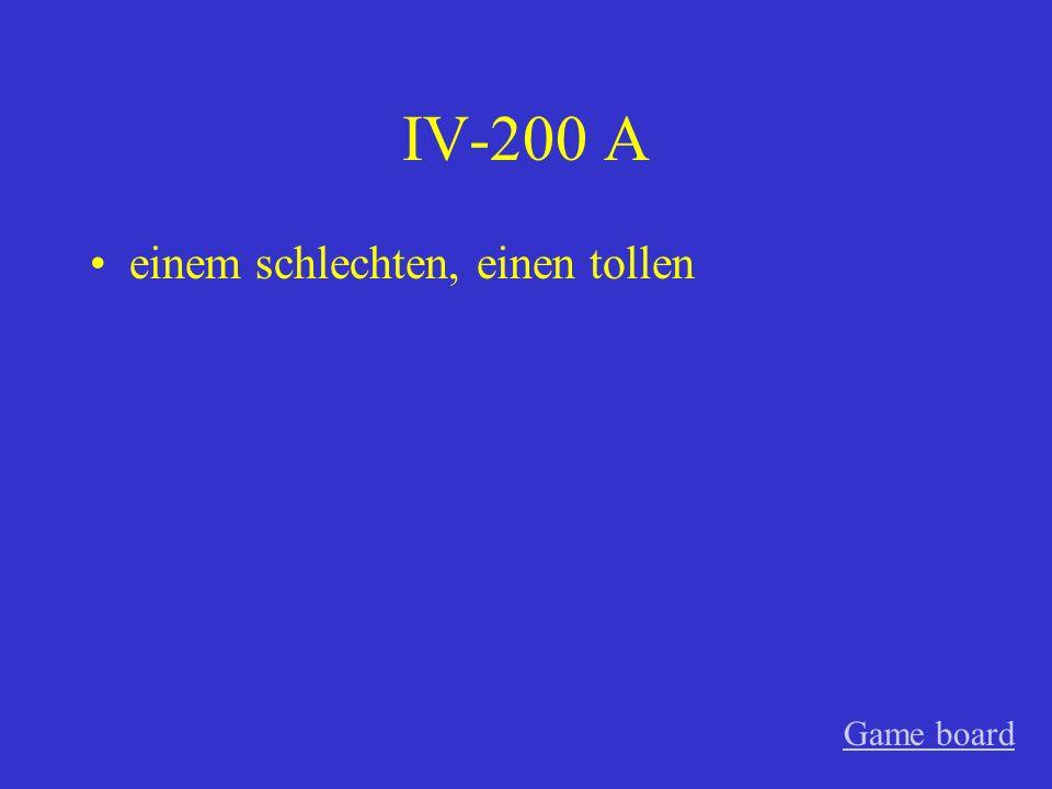 IV-200 A einem schlechten, einen tollen Game board