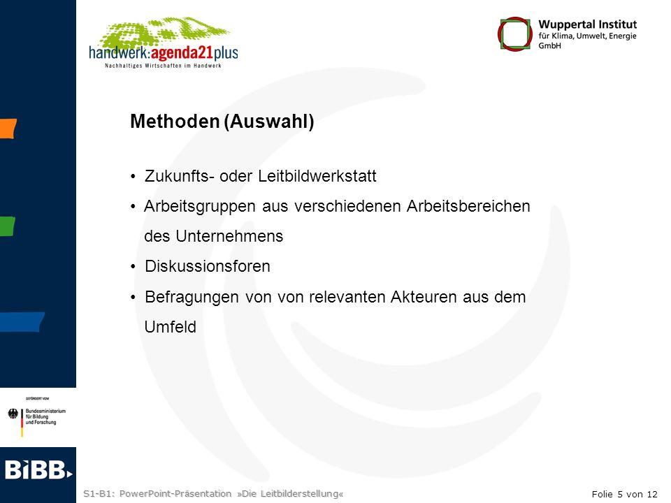 S1-B1: PowerPoint-Pr ä sentation » Die Leitbilderstellung « Umfeldanalyse z.B.