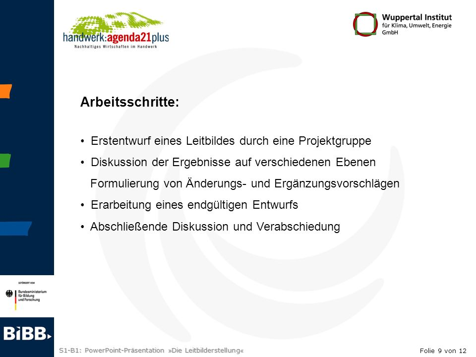 S1-B1: PowerPoint-Pr ä sentation » Die Leitbilderstellung « 3.