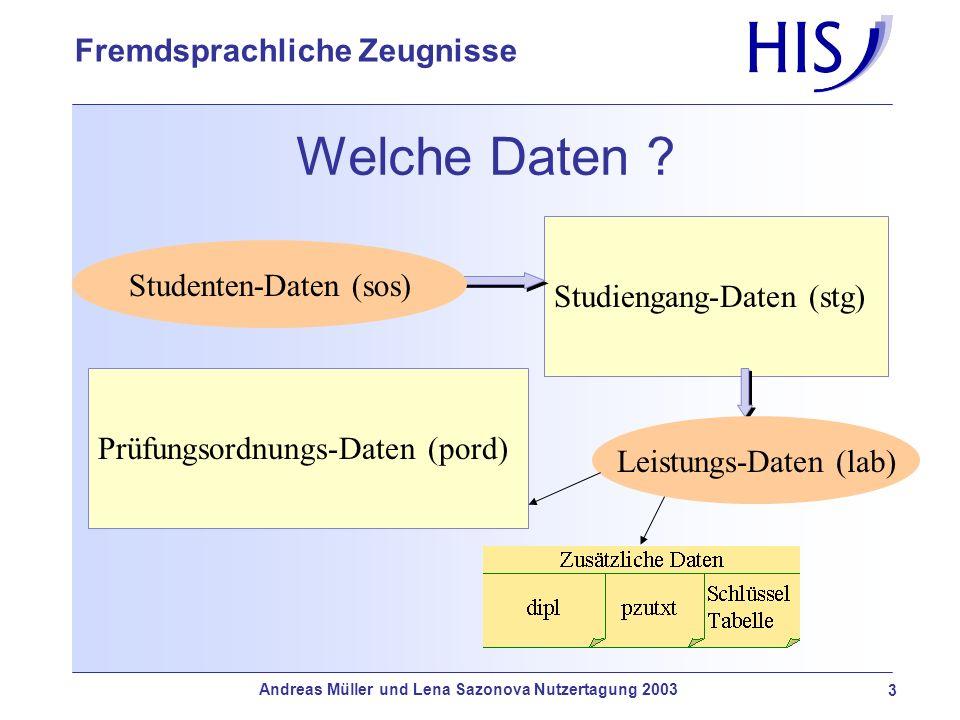 Andreas Müller und Lena Sazonova Nutzertagung 2003 4 Fremdsprachliche Zeugnisse Fremdsprachlich.