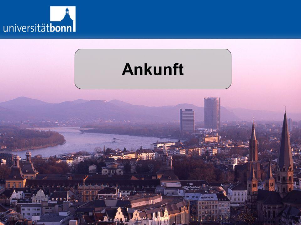 Ankunft / Die ersten Tage Anmeldung Stadt Bonn Anmeldung Krankenversic herung Aufenthaltserla ubnis Bankkonto Pool an Freiwilligen: Auf Anfrage evt.