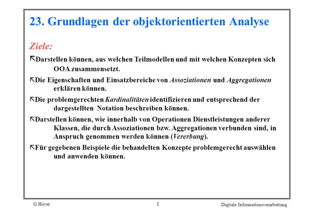 G.Heyer Digitale Informationsverarbeitung 2 Geschichtliche Entwicklung der Objektorientierten Analyse 1980wurde mit der Programmiersprache Smalltalk-80 die Ära der OOP eröffnet.