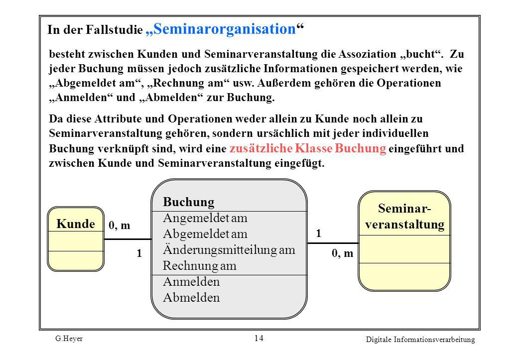 G.Heyer Digitale Informationsverarbeitung 15 Aggregation Vererbung: Besteht eine Assoziation zu den Objekten einer Oberklasse, dann wird die Assoziation an die Unterklassen vererbt, analog wie Attribute und Operationen.