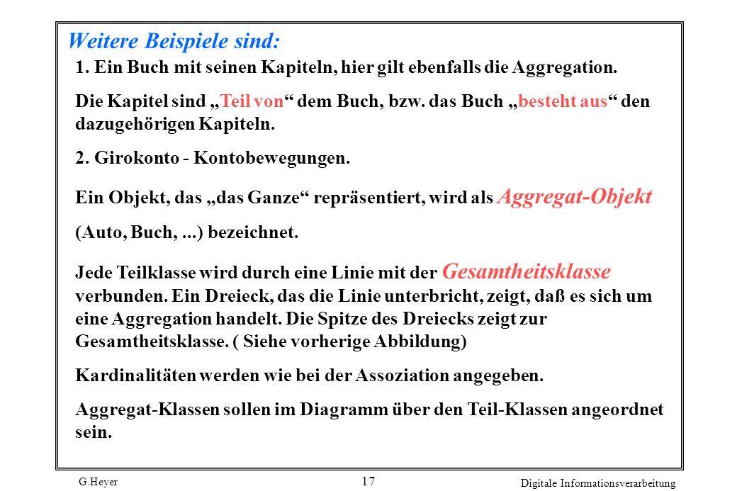 G.Heyer Digitale Informationsverarbeitung 18 Die Klassen einer Aggregation können auch in einer Vererbungsstruktur enthalten sein.