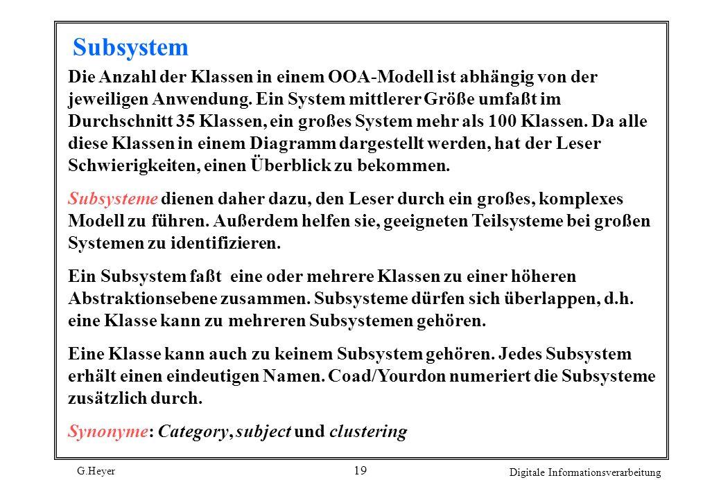 G.Heyer Digitale Informationsverarbeitung 20 Ein Subsystem wird durch ein graues Rechteck dargestellt.