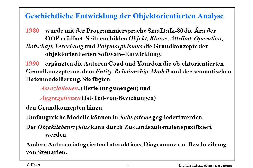 G.Heyer Digitale Informationsverarbeitung 3 objektorientierte Analyse (OOA, object oriented analysis) Die objektorientierten Grundkonzepte zusammen mit diesen Erweiterungen bilden die die es dem Systemanalytiker erlaubt, Anforderungen an ein neues Software-System problemnah zu modellieren.
