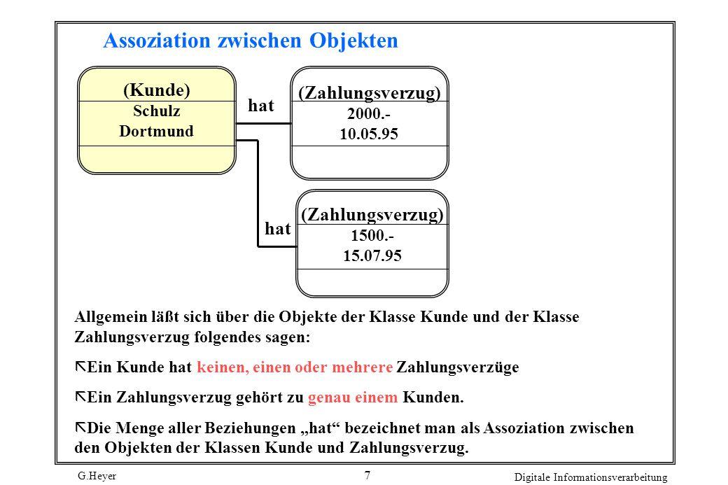 G.Heyer Digitale Informationsverarbeitung 8 Zunächst werden nur binäre Assoziationen betrachtet, d.