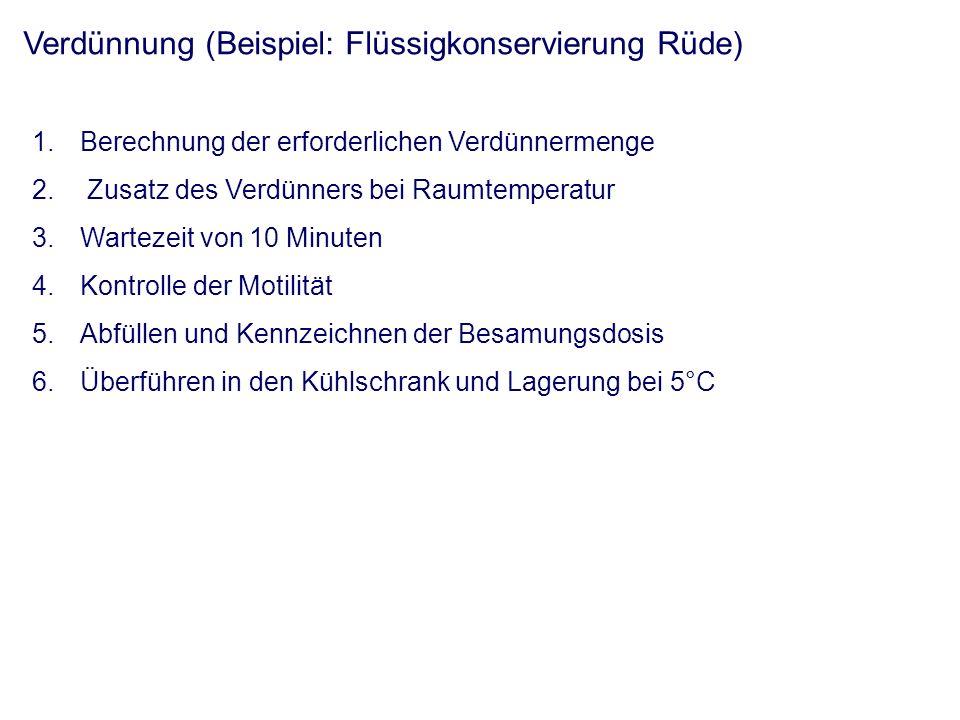 Verdünnung (Beispiel: Tiefgefrierkonservierung Bulle) - Abkühlung in mehreren Schritten - Zugabe von Verdünner bei Raumtemperatur - schrittweise Absenkung auf -196°C - computergesteuerte Temperaturabsenkung - tierartliche Besonderheiten
