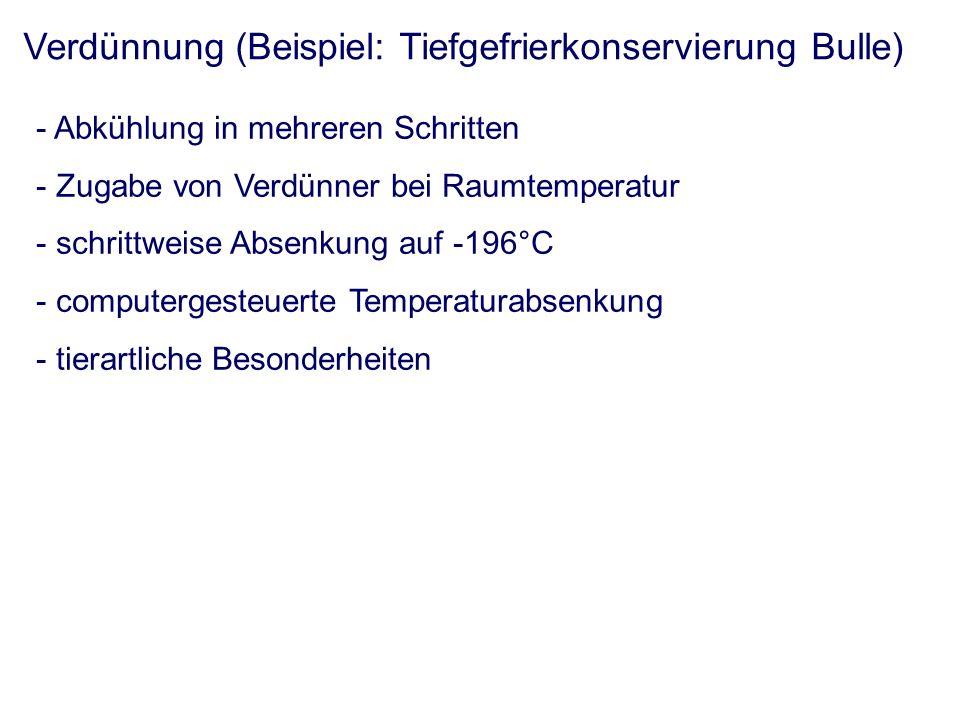Konfektionierung - Handhabung (Lagerung, Schutz, Identifikation, kryobiologische Aspekte) Konfektionierung für die Flüssigkonservierung - Kunststoffgefäße mit starrer Wand (z.B.: Spritzen) - Kunststoffgefäße mit flexibler Wand (z.B.: Tuben) Konfektionierung für die Tiefgefrierkonservierung - Pellets (historisch) - Ampullen (historisch) - Pailletten