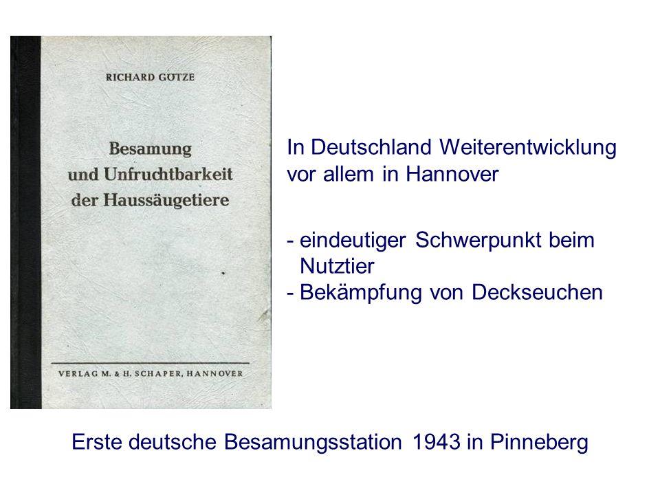 Heutige Situation - Deutschland Milchrind 0 20 40 % der Kühe und Färsen 60 80 100 19551960196519701975198019851990199520002005 Schwein pro Jahr werden zwischen 5 – 6 Millionen Spermaportionen verkauft Warmblutpferd Anteil der Besamungen liegt mehr als dreimal so hoch wie der Natursprung