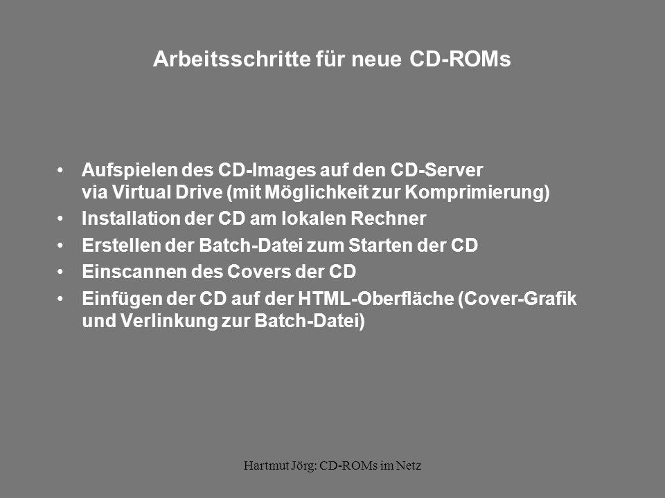 Hartmut Jörg: CD-ROMs im Netz Aufspielen der CD-ROM-Images auf CD-Server via Virtual Drive (mit Möglichkeit zur Komprimierung)