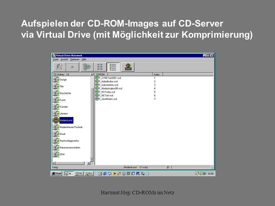 Hartmut Jörg: CD-ROMs im Netz Möglichkeiten der Installation einer CD-ROM am Client Anwendung startet direkt von CD-ROM CD-ROM muß lokal installiert werden CD-ROM besteht aus Inhalten, die mittels eines weiteren Programmes gelesen werden können (z.B.