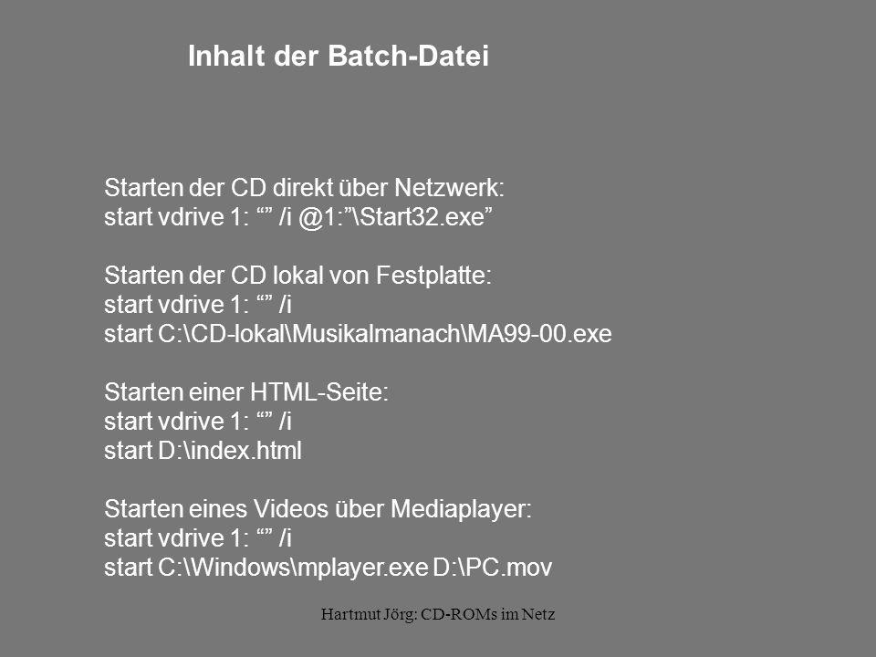 Hartmut Jörg: CD-ROMs im Netz HTML-Oberfläche / Startseite