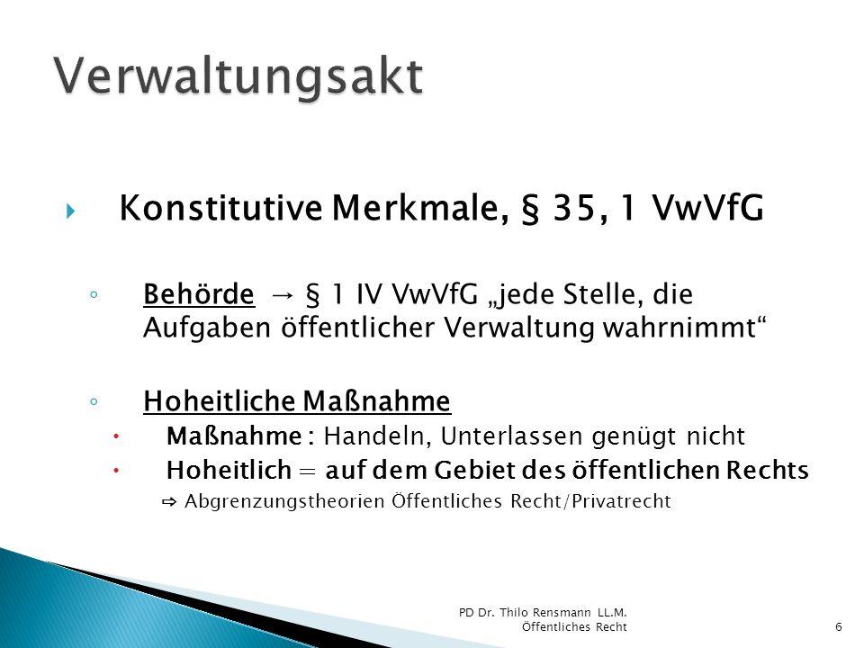 Wiederholung: Abgrenzung Öffentliches Recht/Privatrecht Interessentheorie Öffentliches R., w.