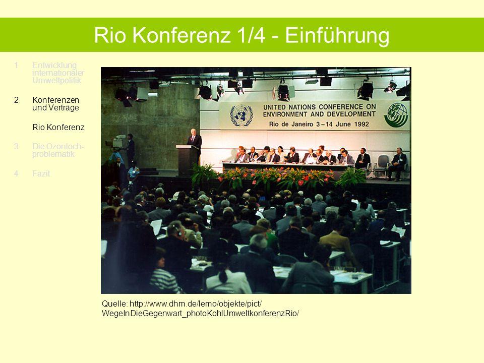 1Entwicklung internationaler Umweltpolitik 2 Konferenzen und Verträge Rio Konferenz 3 Die Ozonloch- problematik 4 Fazit Rio Konferenz 2/4 – Die Rio-Architektur.