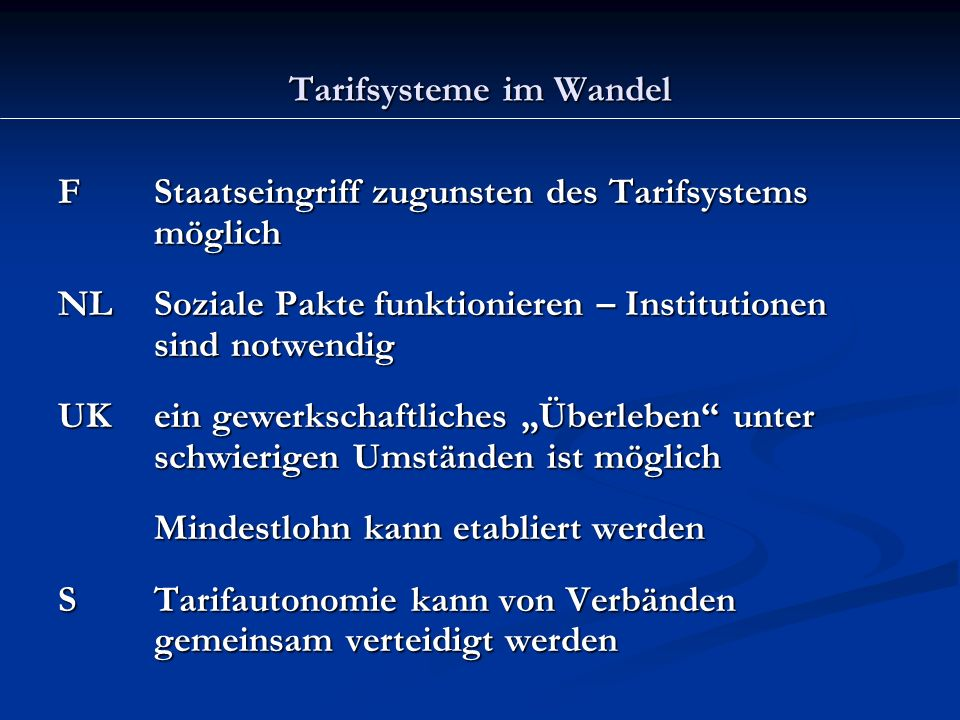 Tarifsysteme im Wandel: Mindestlohn F1217 Euro NL1264 Euro UK1273 Euro Irland1326 Euro Lux1466 Euro