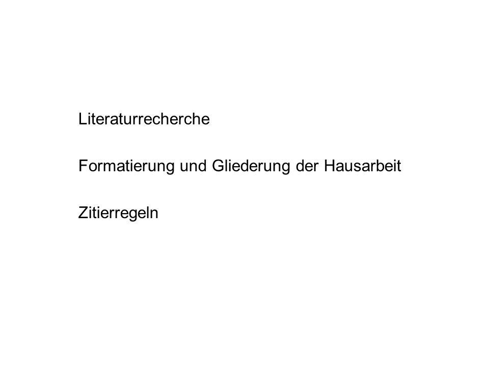 Literaturrecherche http://www.uni-koeln.de/phil-fak/khi/recherche.html http://www.ub.uni-koeln.de/ Bibliotheken in Köln BHA (Fachbibliographie) Nur vom Uni-Server zugänglich KUG (Kölner Universitärer Gesamtkatalog) USB und alle Institutsbibliotheken KoelnBib (Kölner Verbundskatalog) Z.B.