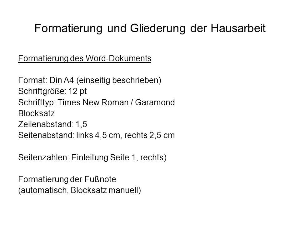 Formatierung und Gliederung der Hausarbeit Titelblatt Seminar Einführung in das Studium der Kunstgeschichte Universität zu Köln Kunsthistorisches Institut WS 2008/09 Dr.