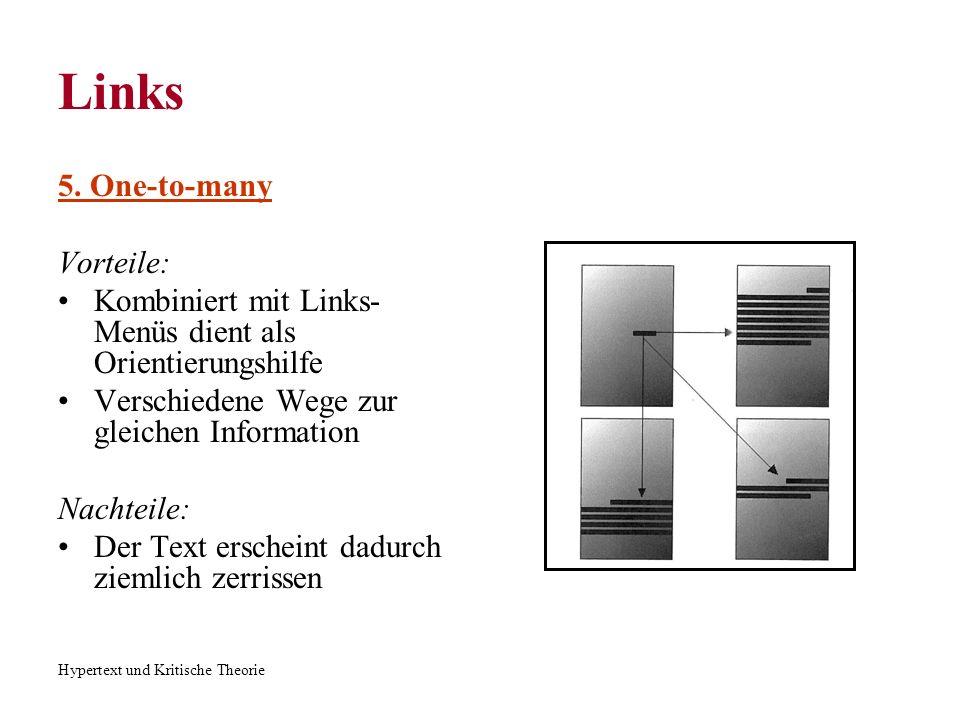 Hypertext und Kritische Theorie Links 6.Many-to-one Vorteile: Praktisch für Nachschlagwerke, Wiederverwendung von der Info.