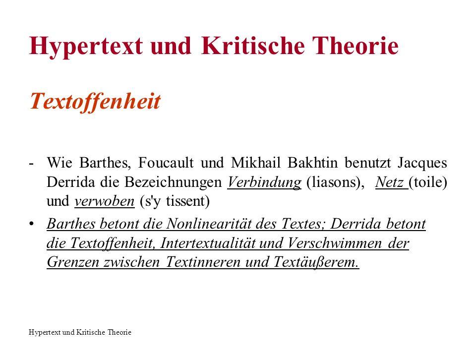 Hypertext und Kritische Theorie Montageähnliche Textualität (Derrida) Hypertext als Kollage, Nebeneinanderstellen, Kombinieren von verschiedenen Texten.
