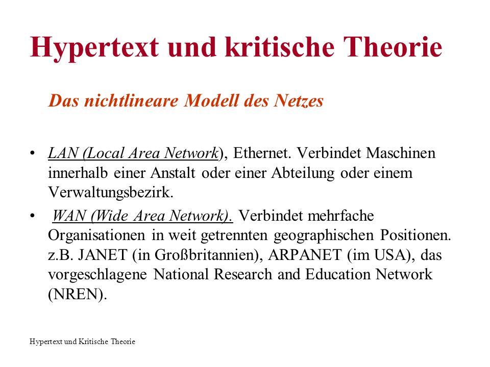 Hypertext und Kritische Theorie Das nichtlineare Modell des Netzes Das Modell des Netzes erscheint auch im strukturalistischen und poststrukturalistischen Schreiben.