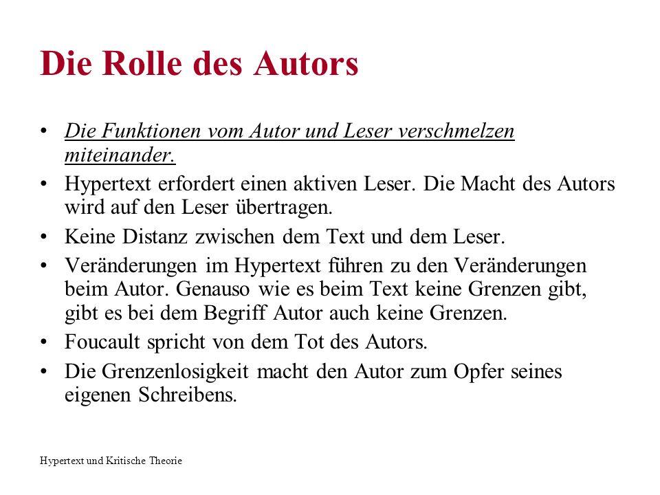 Hypertext und Kritische Theorie Die Rolle des Autors Einige Autoren wie Said und Heim geben der Informationstechnologie die Schuld.