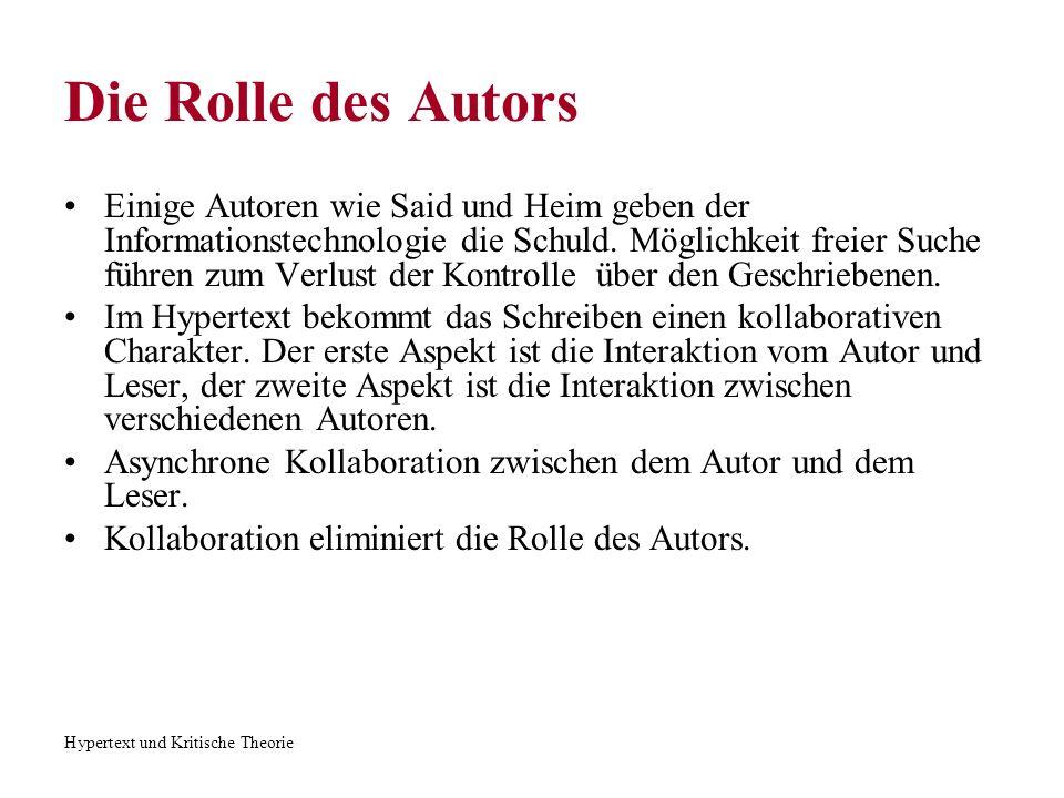 Hypertext und Kritische Theorie Die Rolle des Autors Der Leser sucht seinen eigenen Weg durch den Text aus.