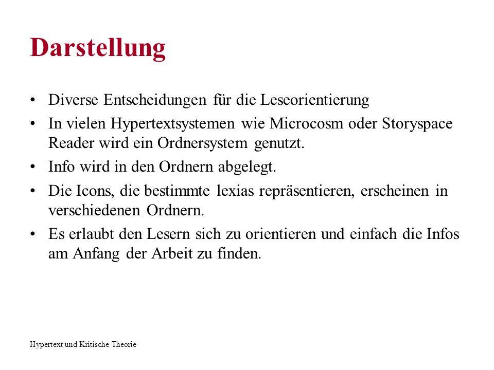 Hypertext und Kritische Theorie Darstellung Z.B.