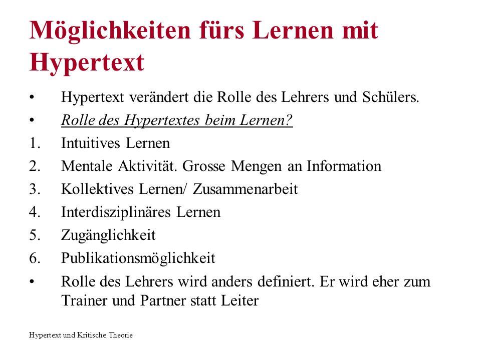 Hypertext und Kritische Theorie Literatur George P.
