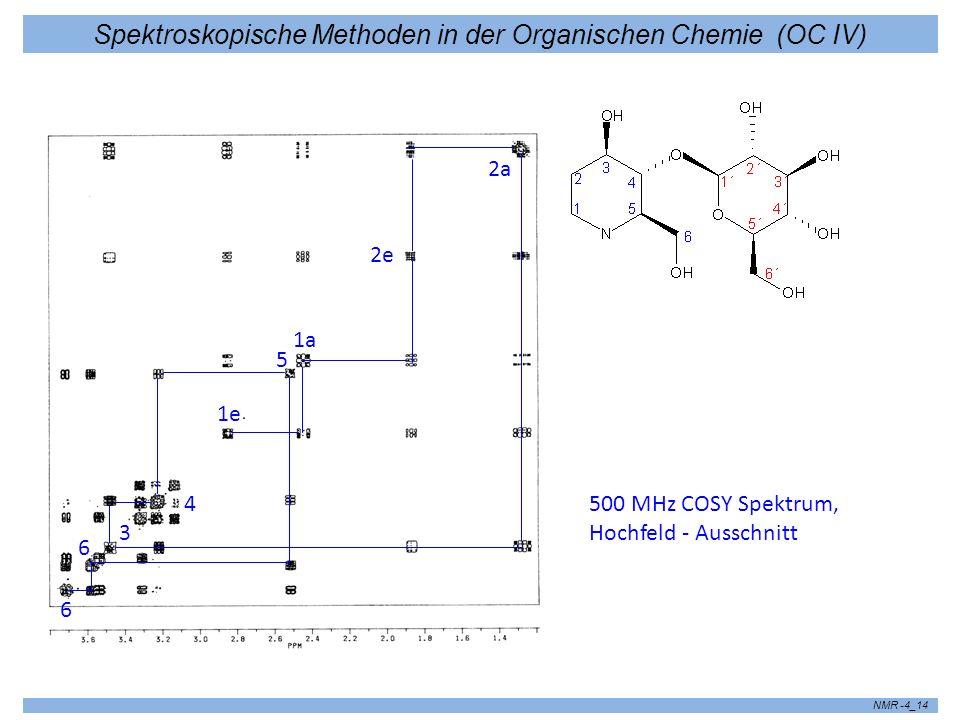 Spektroskopische Methoden in der Organischen Chemie (OC IV) NMR -4_15 7.4Heteronukleare 2D-Experimente Grundidee: F1-Dimension - 1 H Spektrum, F2-Dimension - 13 C Spektrum 90 t2t2 t1t1 1H1H 13 C Keine Korrelation zwischen Protonen und Kohlenstoff, sondern unabhängige Ent- wicklung der Magnetisierungen !