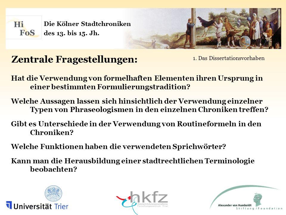 Die Kölner Stadtchroniken des 13.bis 15. Jh. Texte: 1.