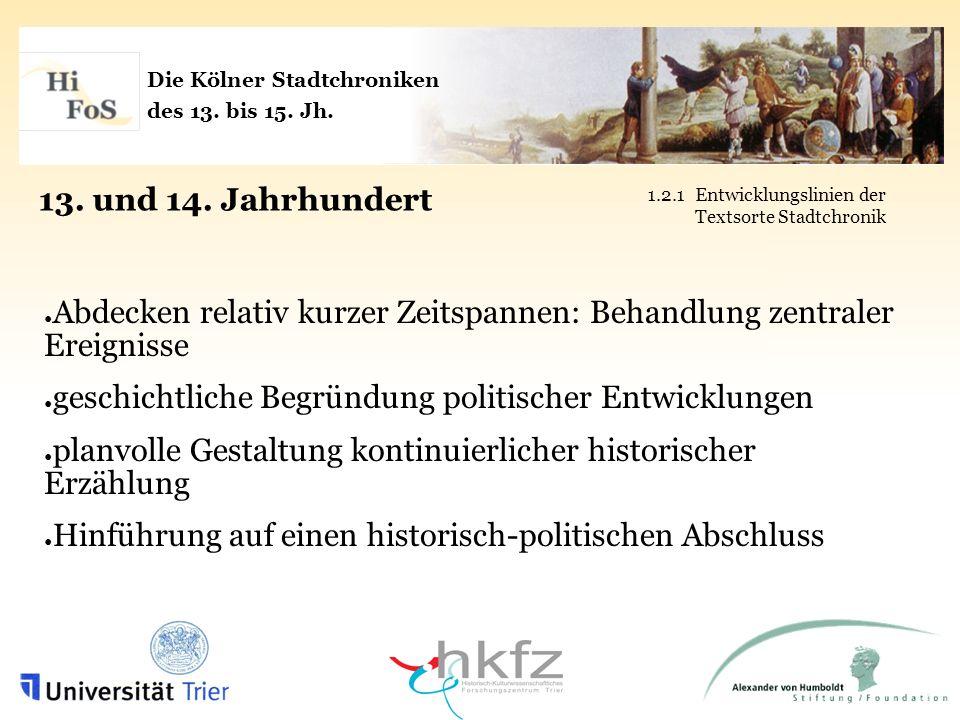 Die Kölner Stadtchroniken des 13.bis 15. Jh. 15.
