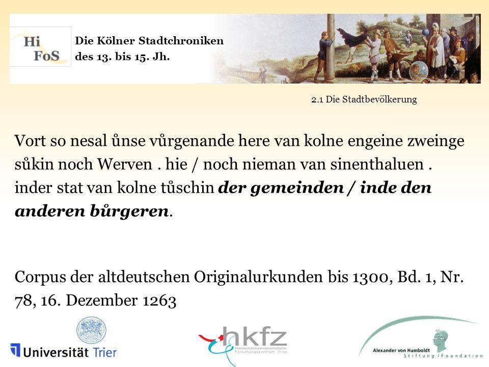 Die Kölner Stadtchroniken des 13.bis 15. Jh.