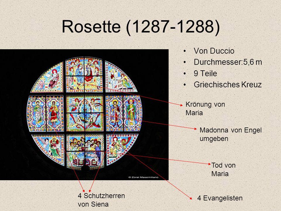 Kanzel von Nicola Pisano (1266-1268) achteckiger Plan weißer Marmor 4 Säulen lehnen an Löwen die Reliefs stellen die Geburt,die Anbetung der Heiligen Drei Könige, die Kreuzigung dar.