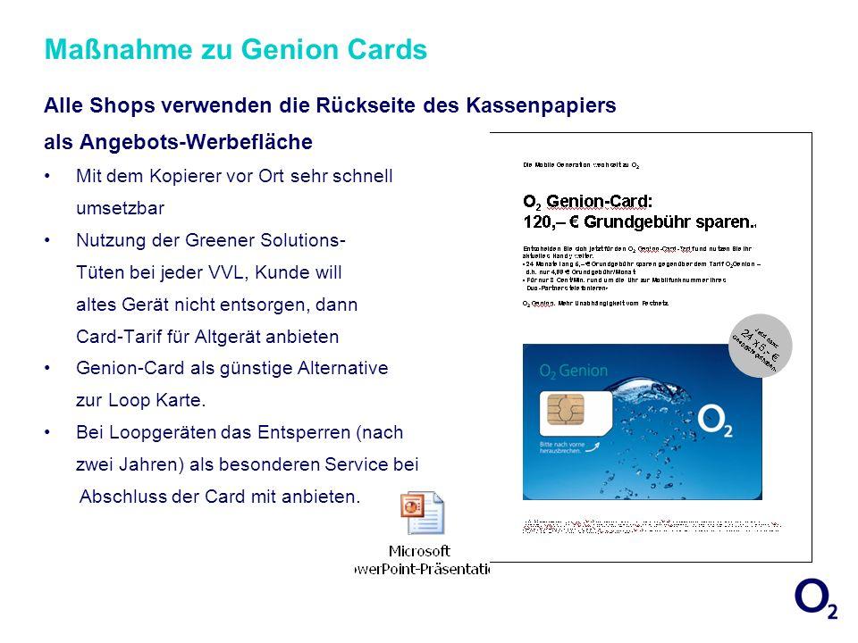 Maßnahmen für Postpaid / Genion Card Kunden Aggressiveres Herangehen an Vertragsverlängerer: wirtschaftlich gesehen kostenlose Zweithomezone / Partnerhandy.