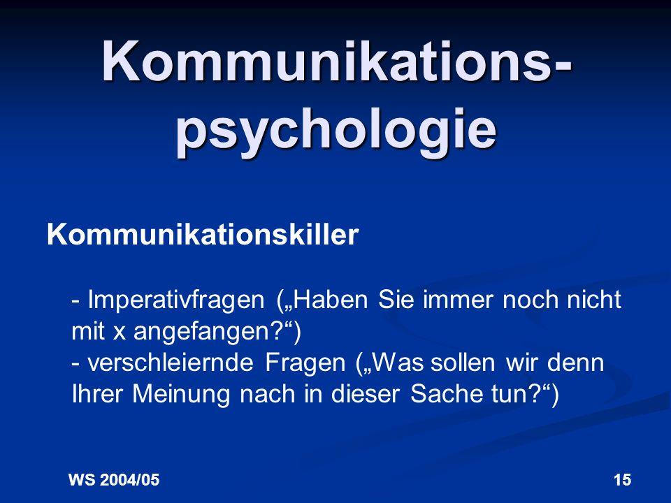 WS 2004/0515 Kommunikations- psychologie Kommunikationskiller - Imperativfragen (Haben Sie immer noch nicht mit x angefangen?) - verschleiernde Fragen (Was sollen wir denn Ihrer Meinung nach in dieser Sache tun?)