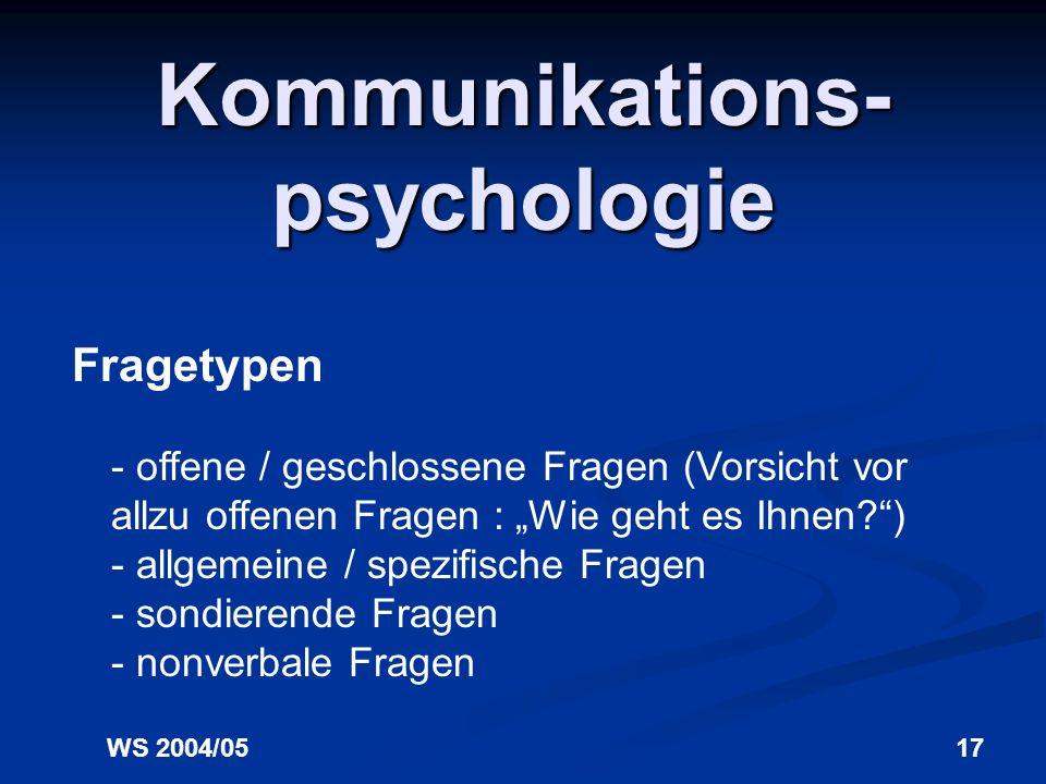 WS 2004/0517 Kommunikations- psychologie Fragetypen - offene / geschlossene Fragen (Vorsicht vor allzu offenen Fragen : Wie geht es Ihnen?) - allgemeine / spezifische Fragen - sondierende Fragen - nonverbale Fragen