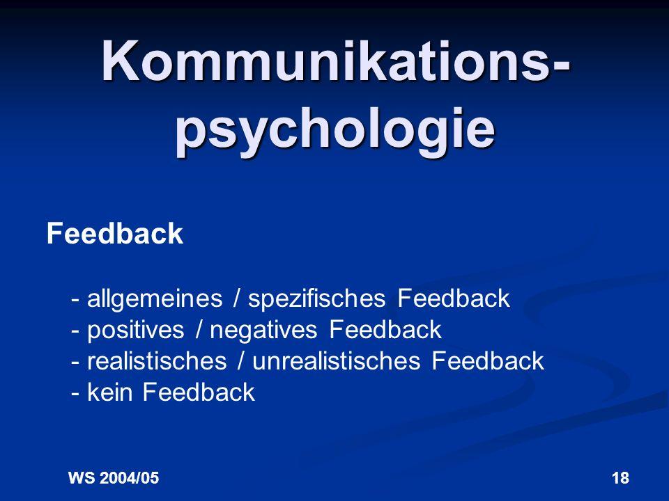 WS 2004/0518 Kommunikations- psychologie Feedback - allgemeines / spezifisches Feedback - positives / negatives Feedback - realistisches / unrealistisches Feedback - kein Feedback