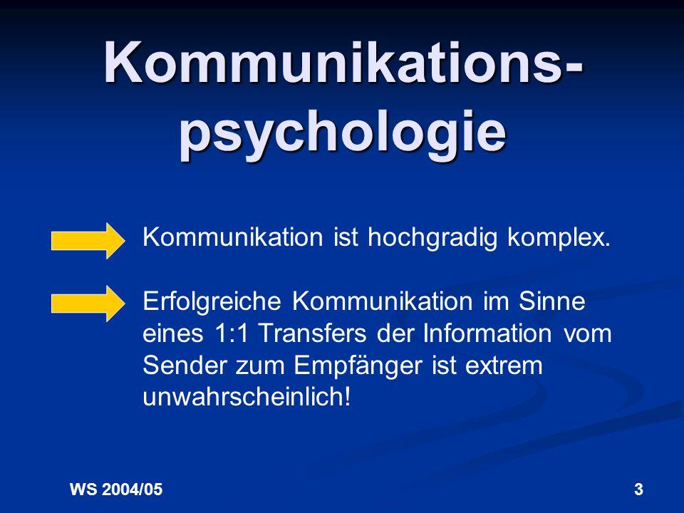 WS 2004/053 Kommunikations- psychologie Kommunikation ist hochgradig komplex.