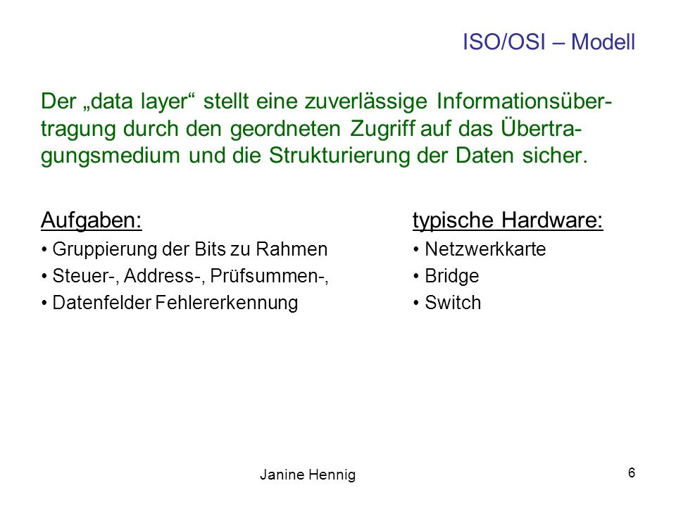 Janine Hennig 7 ISO/OSI – Modell Higher layers Logical Link Control Media Access Control Reconcilation Physical Coding Sublayer Physical Medium Attachment Physical Medium Dependant Medium Independant Interface Medium Dependant Interface Medium